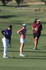 Shadow Hills' Maleyna Gregorio, left, Palm Desert's Caroline Wales and Rancho Mirage's Lehapi Taungahihifo play at the La Quinta Resort Golf Course during the DEL individual finals in La Quinta, Calif., on October 23, 2019.