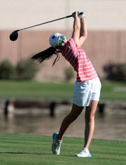 Palm Desert's Caroline Wales tees off on the 10th tee of the La Quinta Resort Golf Course during the DEL finals in La Quinta, Calif., on October 23, 2019.