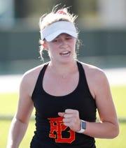 Palm Desert High School's Tenaya Moranda during her DEL League finals match against Palm Springs High School's Emunah Daffon. Moranda won the match in two straight sets 6-4, 6-3 at Indian Wells Tennis Garden on October 24, 2019.
