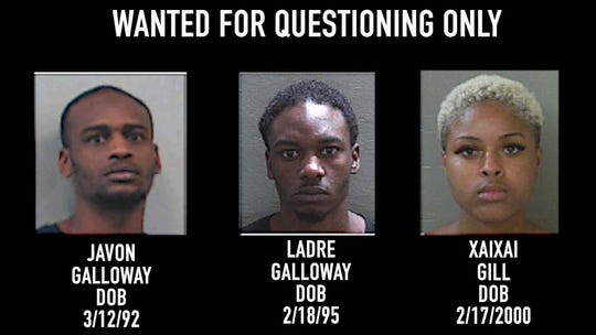 Authorities have asked for the public's assistance locating 27-year-old Javon Vonshea Galloway, 24-year-old Ladre Juanya Galloway and 19-year-old Xaixai Desray Gill for questioning related to a Wednesday night fatal shooting.