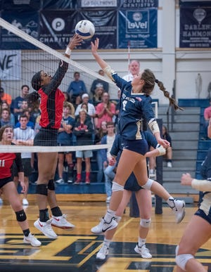 Bella Mayes (6) plays the ball during the Middleburg vs Gulf Breeze FHSAA Class 5A first round volleyball tournament match at Gulf Breeze High School on Wednesday, Oct. 23, 2019.