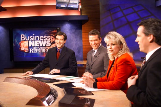 KPNX anchor Jineane Ford is seen with Braham Resnick (from left), Kevin Kelly and Dave Kingman in an undated photo.