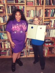 Mayor Kate Gallego stands next to singer Lizzo after declaring Oct. 23 Lizzo Day in Phoenix.