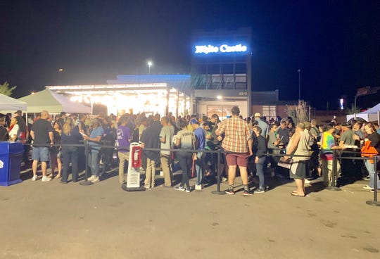 About 500 people still were in line about 8 p.m. Oct. 23, 2019, with a wait of more than three hours, at the new White Castle burger restaurant that opened earlier in the day near Scottsdale.