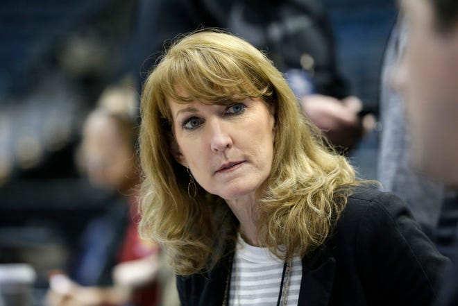 CBS color commentator Debbie Antonelli is shown during practice for the first round of the NCAA Men's Basketball Championship at the BMO Harris Bradley Center in 2017.