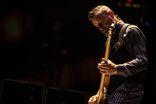 Tool bassist Justin Chancellor performs at Gila River Arena in Glendale on Oct. 23, 2019.