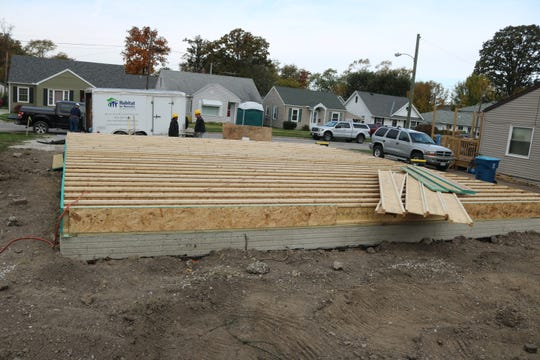 With the foundation in place, work on the framing for the home being constructed by volunteers with the Habitat for Humanity of Ottawa County continues at 129 Walnut Street in Port Clinton.