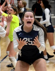 Dallastown's Izzy Ream celebrates a win over Central York during the York-Adams League volleyball title match at Dallastown Wednesday, October 23, 2019. Dallastown won in 5 sets. Bill Kalina photo