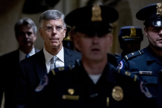 Former Ambassador William Taylor leaves a closed door meeting after testifying as part of the House impeachment inquiry into President Donald Trump, on Capitol Hill in Washington, Tuesday, Oct. 22, 2019. Photo by Andrew Harnik