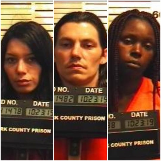 Kendea Nicole Stedham, Jakob Ray Stedham and Sanika Sacole Dickson, arrested for an alleged attack and robbery in West Manchester Township.