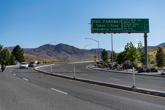 8/10/19 10:26:33 PM -- Reno, NV  --  A highway sign denoting the Tahoe-Reno Industrial Center is seen on Interstate 80 on Aug. 10, 2019. --    Photo by Hannah Gaber, USA TODAY Staff