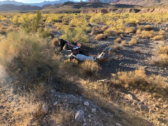 Debris from a helicopter crash Wednesday afternoon near the Red Rock Canyon — about 25 miles west of the Las Vegas Strip.