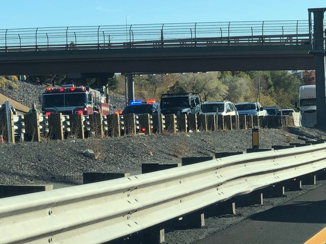 The scene of a three vehicle crash on westbound Interstate 80 on Thursday, Oct. 24.