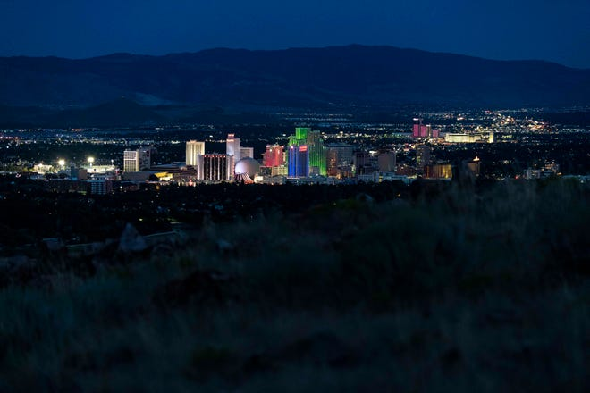 8/10/19 10:26:33 PM -- Reno, NV  --  The Reno skyline is seen at night on Aug. 10, 2019. --    Photo by Hannah Gaber, USA TODAY Staff