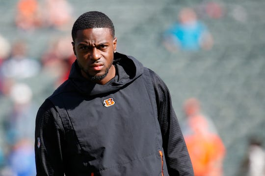 Cincinnati Bengals wide receiver A.J. Green practices before an NFL football game against the Jacksonville Jaguars, Sunday, Oct. 20, 2019, in Cincinnati.