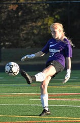 Parkside goalkeeper Megan Polenik kicks the ball to a teammate during Oct. 21, 2019's Bayside championship girls' soccer game in Stevensville against Queen Anne's County.