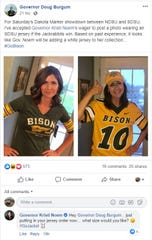 Gov. Kristi Noem and North Dakota Gov. Doug Burgum have made a friendly wager over the Dakota Marker game on Saturday.