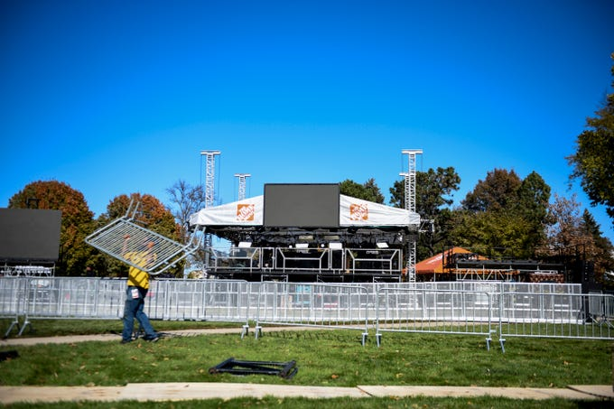 Crews place fences around the stage for ESPN's College GameDay on Thursday, Oct. 24, 2019 at SDSU. The Jacks play NDSU on Saturday, Oct. 26, 2019.