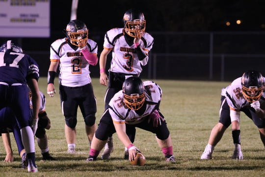 Dell Rapids quarterback Colin Rentz (No. 3) lines up against West Central with running back, and brother, Carter Rentz (No. 2) behind him on Friday, Oct. 18