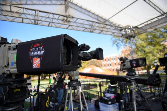 Cameras are placed on the stage for ESPN's College GameDay on Thursday, Oct. 24, 2019 at SDSU. The Jacks play NDSU on Saturday, Oct. 26, 2019.