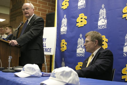 SDSU athletic director Fred Oien and football John Stiegelmeier make the announcement that the school is joining the Gateway Football Conference (now the Missouri Valley) in 2008.