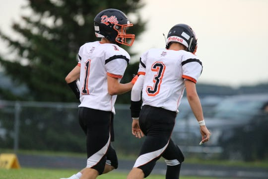 Twin brothers Connor Rentz (No. 1) and Colin Rentz have helped lead Dell Rapids to an 8-0 season prior to the Tea Area game.