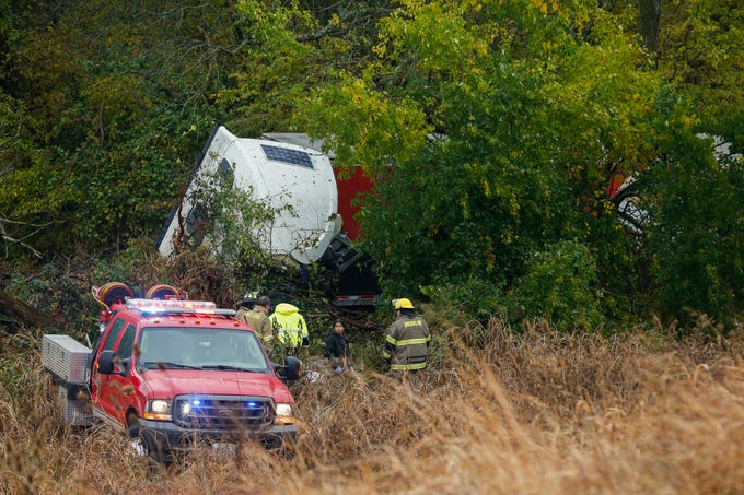 Emergency crews work the scene of a fatal accident on I-44 just east of the James River Freeway exit on Thursday, Oct. 24, 2019.