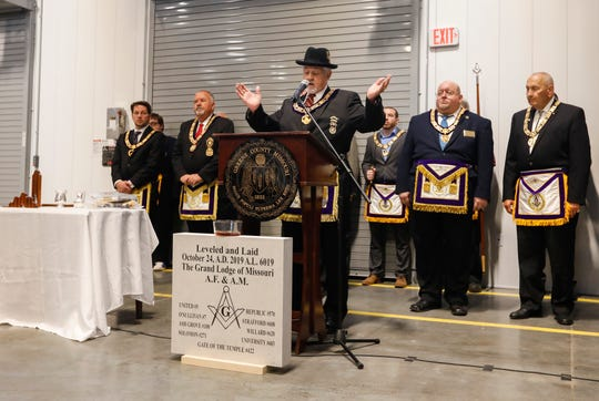 Stanton Brown, Grand Master Grand Lodge of Missouri Ancient Free & Accepted Masons, speaks during a traditional cornerstone dedication ceremony at the Greene County Operations Center on Thursday, Oct. 24, 2019.