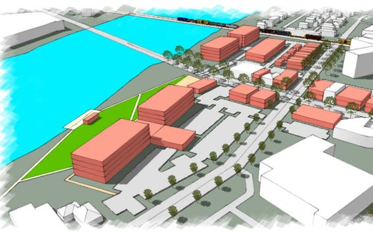 A drawing shows a redevelopment opportunity on the East Side, including restaurants and a plaza, as well as a hotel replacing Riverside Apartments.