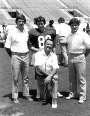 1982: FSU head football coach Bobby Bowden and sons, left to right, Tommy, Jeff and Terry.