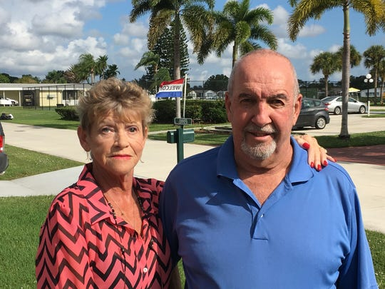 Sue and Frank Genevick, residents of Golden Ponds, a 55-and-olderresidential community in Fort Pierce.