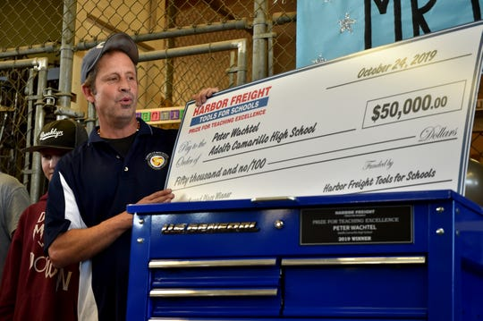 Peter Wachtel, an architecture and product innovation teacher at Adolfo Camarillo High School, is surprised with the news that he won second place in the 2019 Harbor Freight Tools for Schools Prize for Teaching Excellence on Thursday.