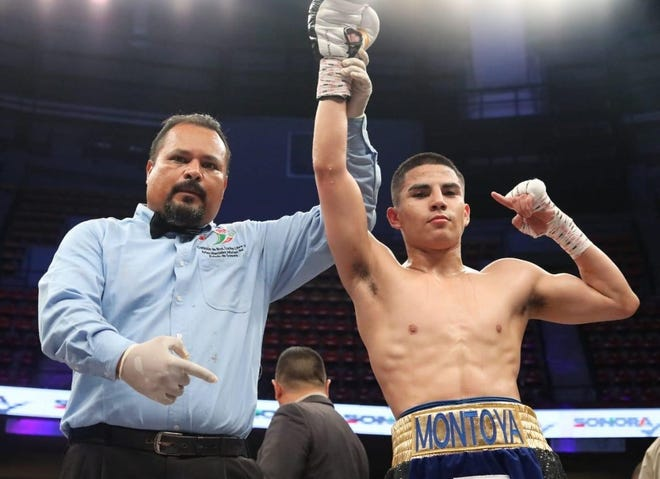 Adrian Montoya, right, has been training in Oxnard for Sunday's fight against Humberto Rubalcava in Hollywood. The 21-year-old unbeaten boxer has been training in Oxnard for his United States debut.