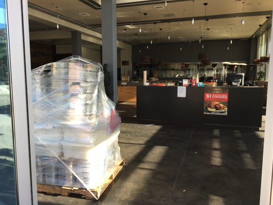 Kitchen equipment awaits the moving van at General Chow Dumpling House & Bar, which closed this week at The Collection at RiverPark in Oxnard.