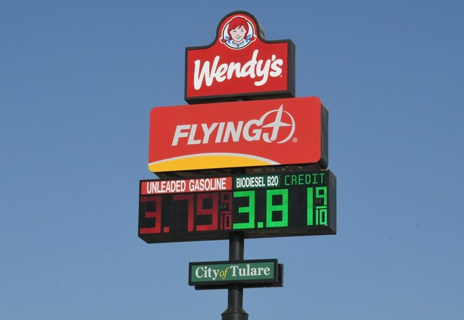 Gas prices at the Flying J truck stop in Tulare sit below $4 a gallon on Oct. 23, 2019, an anomaly in California. Gov. Gavin Newsom called for an investigation into soaring prices at the pumps this week.