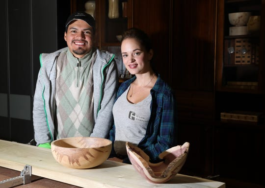 Carlos Chimborazo and Elena Krouliak of C-los Carpentry at Makers Central in Tarrytown Oct. 18, 2019. Chimborazo and Krouliak collect wood and turn them into bowls, cutting boards, tables for restaurants among other items.