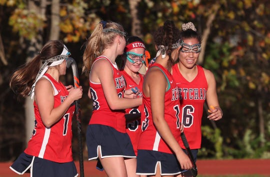 From right, Ketcham's Violeta Francese (6) celebrates a goal against Mahopac with teammates during girls field hockey playoff action at Mahopac High School Oct. 23, 2019. Ketcham won the game4-3.