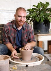 Potter Connor McGinn, founder of Makers Central, at the wheel in his studio in Tarrytown Oct. 16, 2019. Makers Central is a space for makers to work in a collaborative environment to produce high quality functional goods geared towards the restaurant industry.