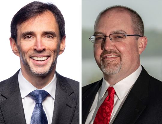Incumbent Democrat Noam Bramson, left, faces GOP challenger Brendan Conroy in the race for New Rochelle mayor.