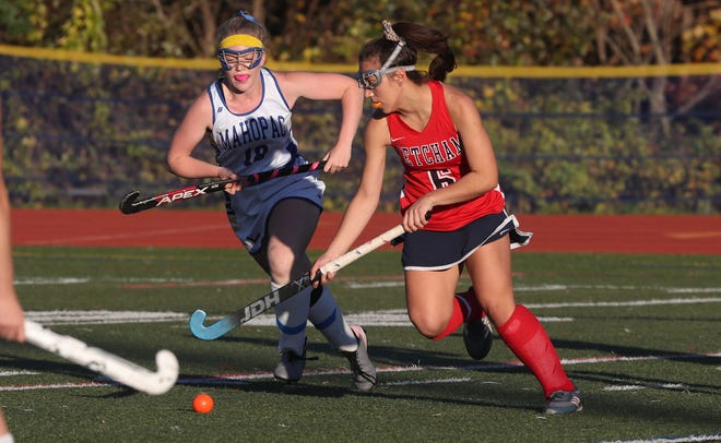 From right, Ketcham's Violeta Francese (6) drives to the goal in front of Mahopac's April Heady (18) during girls field hockey playoff action at Mahopac High School Oct. 23, 2019. Ketcham won the game4-3.