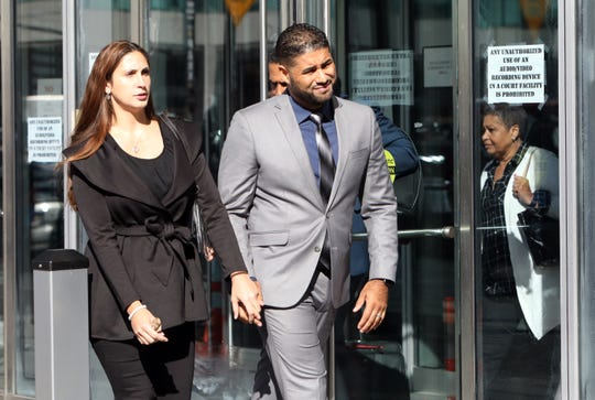 Juan Rodriguez, the New City father whose 1-year-old twins died in his hot car, and his wife Marissa leave Bronx Criminal Court Oct. 24, 2019. His case was adjourned to Dec. 5.