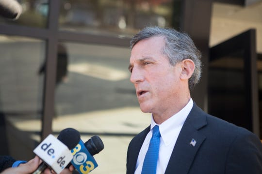 Delaware Governor John Carney speaks to the media after the funeral ceremony for longtime democratic supporter Sonia Sloan Thursday morning at Congregation Beth Emeth in Wilmington.