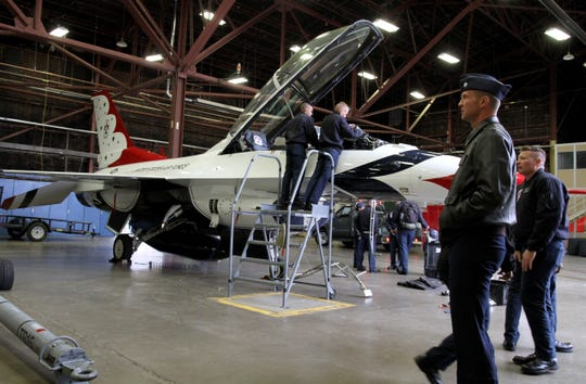 F-16s sit in a hanger Thursday, Oct. 24 2019, before the airshow Saturday that will feature the Thunderbirds at Sheppard Air Force Base.
