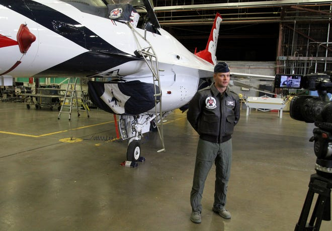 Thunderbird pilot Major Trevor Albridge is interviewed Thursday, Oct. 24 2019, inside of a hanger at Sheppard Air Force Base. Albridge is a local to Wichita  Falls who also completed his pilot training at SAFB.