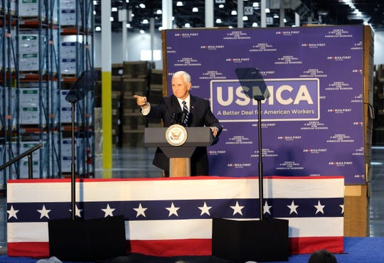Vice President Mike Pence greets attendees to the America First Policies USMCA event at Uline Warehouse in Pleasant Prairie on Oct. 23, 2019.