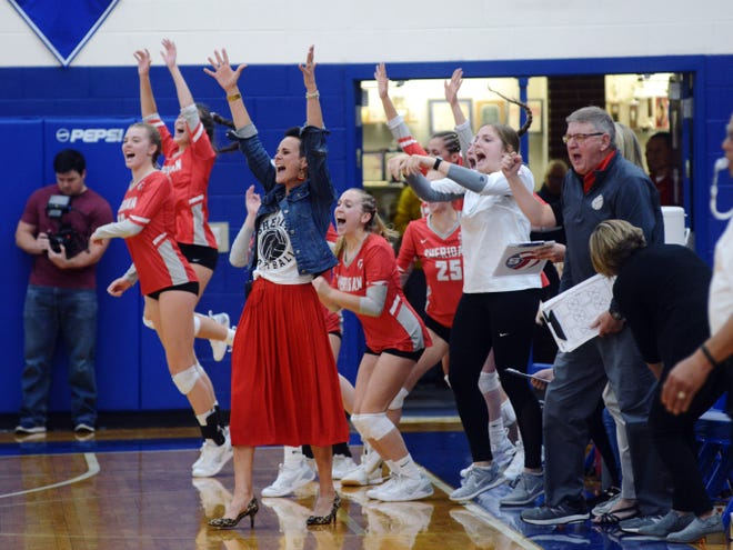 Sheridan's bench celebrates after clinching a 25-14, 25-16, 20-25, 25-18 win against Gallipolis Gallia Academy in a Division II district semifinal on Wednesday at Chillicothe Southeastern.
