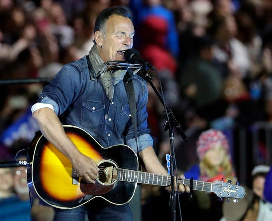 Bruce Springsteen performs during a Hillary Clinton campaign event at Independence Mall in Philadelphia on Nov 7, 2016.