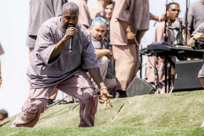 Kanye West performs Sunday Service during Coachella music festival in April in Indio, California.