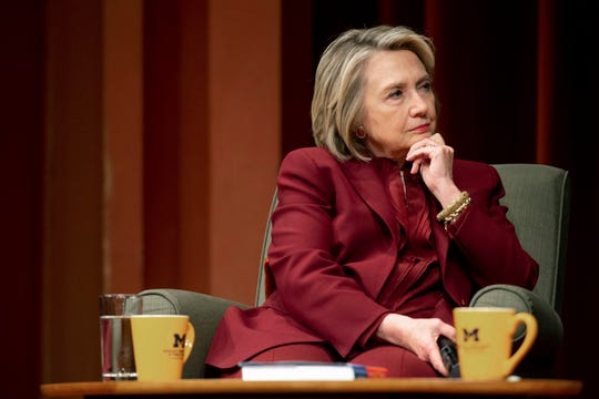 Hillary Clinton listens during a lecture on foreign policy at Rackham Auditorium, Thursday, Oct. 10, 2019 in Ann Arbor, Mich.