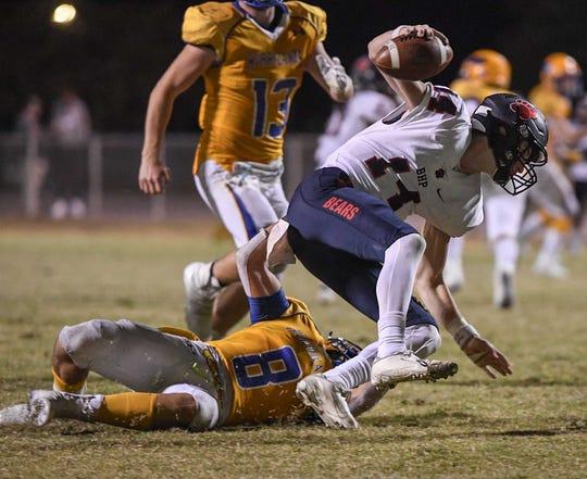 Wren senior Malik Mattress(8) sacks Belton-Honea Path senior Logan Milford(14) during the fourth quarter at Wren High School in Piedmont Thursday, October 24, 2019.